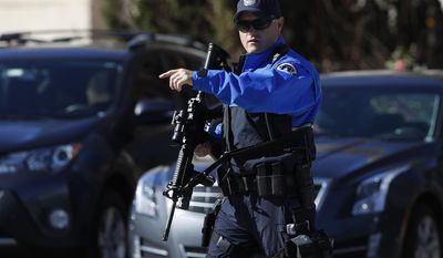 Armed U.S. Capitol Police officer take position near the Botanic Gardens in Washington, Wednesday, March 29, 2017. A woman struck a U.S. Capitol Police cruiser with a vehicle near the Capitol and was taken into custody, police said.  (AP Photo/Manuel Balce Ceneta)
