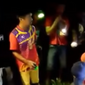A screen grab from a video purportedly showing villagers in Indonesia's West Sulawesi province cutting open a python to reveal the legs of a man is seen here. (Video from Tribun Timur)