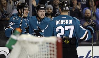 San Jose Sharks center Chris Tierney, center, celebrates his goal with teammates Timo Meier, left, and Joonas Donskoi (27) during the second period of an NHL hockey game against the New York Rangers Tuesday, March 28, 2017, in San Jose, Calif. (AP Photo/Marcio Jose Sanchez)