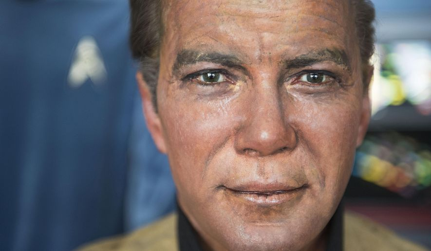 This Saturday, March 25, 2017 photo shows a close up of Captain Kirk's wax likeness from the now out of business Movieland Wax Museum in Buena Park in a hangar at Fullerton Airport in Fullerton, Calif. Steven Greenthal and Chris Liebl are donating the figures to the Hollywood Science Fiction Museum. The figures are being restored for a five-year tour to raise money to get the museum a permanent home. (Nick Agro/The Orange County Register via AP)