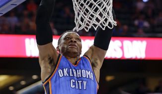 Oklahoma City Thunder's Russell Westbrook makes an uncontested dunk against the Orlando Magic during the first half of an NBA basketball game, Wednesday, March 29, 2017, in Orlando, Fla. (AP Photo/John Raoux)
