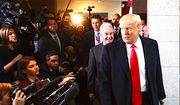 President Trump and Health and Human Services Secretary Tom Price make their way past a gaggle of reporters at the U.S. Capitol. (AP Photo/J. Scott Applewhite) ** FILE **