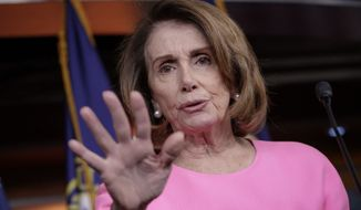 House Minority Leader Nancy Pelosi, California Democrat, speaks with reporters about Democratic objections to the GOP agenda on Capitol Hill in Washington on March 30, 2017. (Associated Press) **FILE**