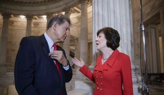 In this March 28, 2017, file photo, Sen. Joe Manchin, D-W. Va., left, and Sen. Susan Collins, R-Maine, who serve together on the Senate Appropriations Committee and the Senate Intelligence Committee, confer on Capitol Hill after doing television news interviews, in Washington. (AP Photo/J. Scott Applewhite, file)