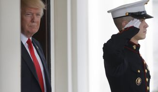 President Donald Trump awaits the arrival of Danish Prime Minister Lars Lokke Rasmussen at the White House in Washington, Thursday, March 30, 2017. (AP Photo/Pablo Martinez Monsivais)