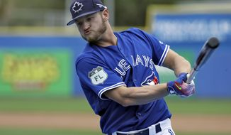 "FILE - In this March 13, 2017, file photo, Toronto Blue Jays' Josh Donaldson takes practice swings before his turn in the batting cage before a spring training baseball game against the Boston Red Sox, in Dunedin, Fla. Donaldson is an early adopter to a growing big league trend - hitters fixated on producing fly balls. Or, as Donaldson put it recently on Twitter: ""Just say NO.... to ground balls."" (AP Photo/Chris O'Meara, File)"