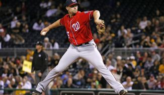 FILE - In this Sept. 24, 2016 file photo, Washington Nationals relief pitcher Blake Treinen delivers in the ninth inning of a baseball game against the Pittsburgh Pirates in Pittsburgh. Treinen will start the season as the closer for the Washington Nationals. The 28-year-old Treinen, a right-hander, has one career save.  (AP Photo/Gene J. Puskar, File)