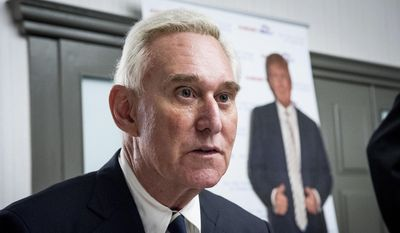 In this March 21, 2017, file photo, Roger J. Stone Jr., an adviser for President Donald J. Trump during the 2016 presidential campaign, speaks to members of the conservative group America First at the Marriott in Boca Raton, Fla. (Michael Ares/Palm Beach Post via AP, File)