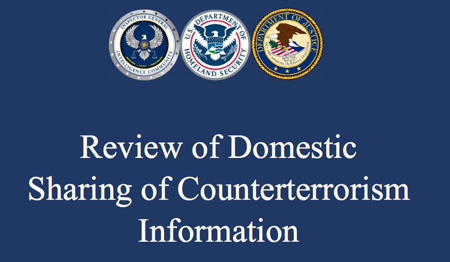"""Screen capture from the """"Review of Domestic Sharing of Counterterrorism Information"""" released March 31, 2017 by the inspectors general for the federal Dept. of Homeland Security, Justice Department and U.S. Intelligence Community. [https://oig.justice.gov/reports/2017/a1721.pdf]"""