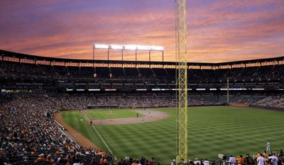 The sun sets behind Oriole Park at Camden Yards during a baseball game between the Baltimore Orioles and the New York Yankees in Baltimore, Friday, Sept. 2, 2016. It's been 25 years since the Baltimore Orioles began playing in Camden Yards, the start of a nationwide trend of major league teams moving into new ballparks. (AP Photo/Patrick Semansky)