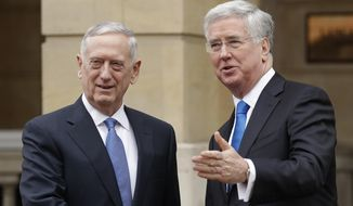 U.S. Defense Secretary James Mattis, left, and British Defence Secretary Michael Fallon perform a posed handshake for the media as Mattis arrives for their press conference at Lancaster House in London, Friday, March 31, 2017. (AP Photo/Matt Dunham, Pool)