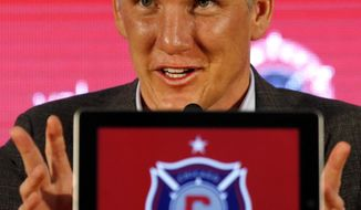 The Chicago Fire's new player Bastian Schweinsteiger, of Germany, speaks during an MLS soccer press conference at the The PrivateBank Fire Pitch in Chicago, Wednesday, March 29, 2017. (AP Photo/Nam Y. Huh)