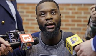 Lance Stephenson talks about rejoining the Indiana Pacers NBA basketball team in Indianapolis, Friday, March 31, 2017. The Pacers announced Thursday they have signed their former draft pick to a contract. Stephenson will join the team in Cleveland for Sunday's game. (AP Photo/Michael Conroy)