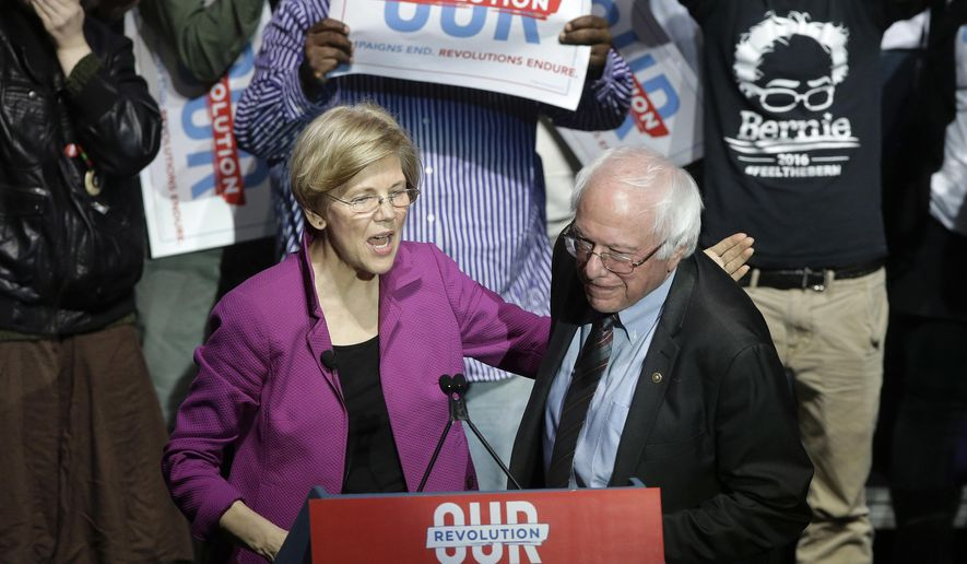 Elizabeth Warren endorsed Hillary Clinton for the Democratic presidential nomination only after she had the race wrapped up, but activists believed her heart was with Bernard Sanders. (Associated Press/File)