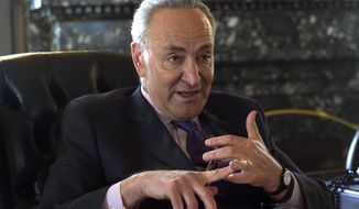 Senate Minority Leader Sen. Charles Schumer of N.Y., speaks during an interview in his office on Capitol Hill in Washington, Thursday, March 30, 2017. (AP Photo/Susan Walsh)