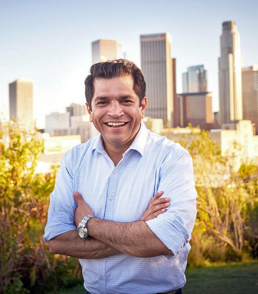 This undated photo provided by the Jimmy Gomez For Congress campaign shows California state Assemblyman Jimmy Gomez in Los Angeles. Gomez is one of several candidates for an open seat in the U.S. House of Representatives in a strongly Democratic district in Southern California. The outcome of the Tuesday, April 4 election could be a hint at the direction of the party in the Trump era. (Mary Hodge/Jimmy Gomez For Congress Campaign via AP)