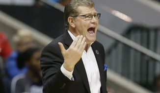 Connecticut head coach Geno Auriemma calls to his players during the first half of an NCAA college basketball game against Mississippi State in the semifinals of the women's Final Four, Friday, March 31, 2017, in Dallas.(AP Photo/Tony Gutierrez)