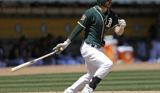 Oakland Athletics' Matt Joyce swings for a two-run double off San Francisco Giants' Tyler Beede in the third inning of an exhibition baseball game Saturday, April 1, 2017, in Oakland, Calif. (AP Photo/Ben Margot)