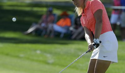 Suzann Pettersen, of Norway, hits to the ninth green during the third round of the LPGA Tour's ANA Inspiration golf tournament at Mission Hills Country Club on Saturday, April 1, 2017, in Rancho Mirage, Calif. (AP Photo/Chris Carlson)