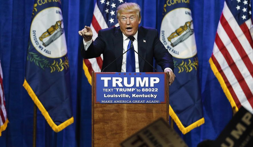 In this March 1, 2016 file photo, Republican presidential candidate Donald Trump speaks during a rally in Louisville, Ky. (AP Photo/John Bazemore, File)