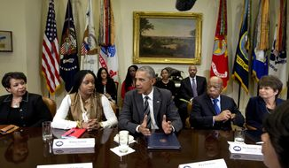 FILE - In this Thursday, Feb. 18, 2016 file photo, President Barack Obama meets with civil rights leaders in the Roosevelt Room of the White House in Washington. From left are, Attorney General Loretta Lynch; Brittany Packnett, of the President's Task Force on 21st Century Policing and Co-Founder of We The Protestors and Campaign Zero; the president; Rep, John Lewis, D-Ga., and Senior White House Adviser Valerie Jarrett. Democrats and left-leaning groups are turning their attention to statehouses, recognizing that many of the policies they object to are being enacted at the state level as an obstructionist Congress has passed few laws in recent years. (AP Photo/Carolyn Kaster, File)