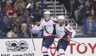 Washington Capitals' Andre Burakovsky, left, and Brett Connolly celebrate a goal against the Columbus Blue Jackets during the second period of an NHL hockey game Sunday, April 2, 2017, in Columbus, Ohio. (AP Photo/Jay LaPrete)