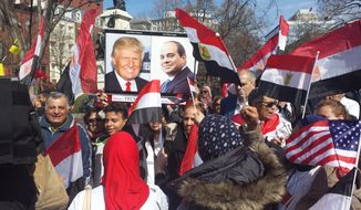 Dozens of Egyptian expats rallied Monday, April 3, 2017, outside the White House in support of Egyptian President Abdel-Fattah el-Sissi. (Photo by S.A. Miller/The Washington Times)