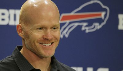 Buffalo Bills NFL football head coach Sean McDermott addresses the media following the first day of voluntary off season conditioning, Monday, April 3, 2017, in Orchard Park, N.Y. (AP Photo/Jeffrey T. Barnes)