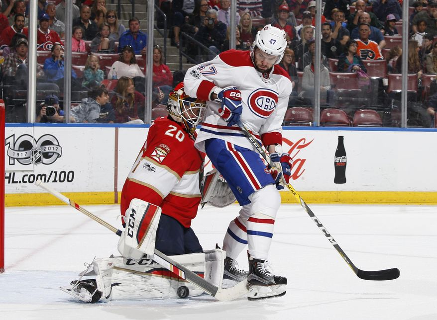Montreal Canadiens right wing Alexander Radulov (47) is unable to get to the rebound given up by Florida Panthers goaltender Reto Berra (20) during the second period of an NHL hockey game, Monday, April 3, 2017, in Sunrise, Fla. (AP Photo/Joel Auerbach)