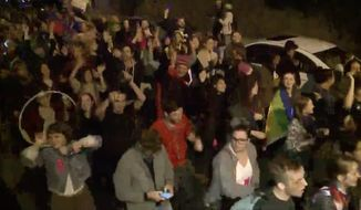 "Demonstrators descended on the Washington, D.C. neighborhood of Ivanka Trump and husband Jared Kushner Saturday night for a ""queer dance party"" protesting the Trump administration's climate change policies. (WUSA 9)"