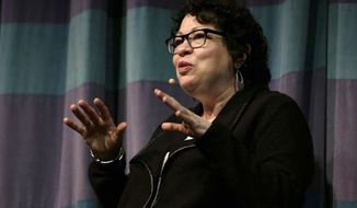 FILE - In this Thursday, March 9, 2017, file photo, U.S. Supreme Court Justice Sonia Sotomayor gestures during a speech at the University of California at Berkeley in Berkeley, Calif. Sotomayor and her fellow judges sometimes disagree about decisions, but are collegial because they respect each other's passion for the law, she told students at Albany Law School in New York on Monday, April 3. 2017. (AP Photo/Ben Margot, File)