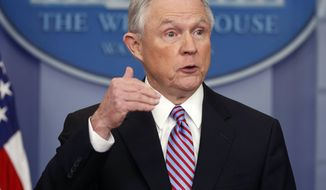 In this March 27, 2017, file photo, Attorney General Jeff Sessions speaks in the Brady Press Briefing Room of the White House in Washington. The Trump administration issued a stern warning to U.S. companies as they began applying for coveted skilled-worker visas Monday, cautioning that it would investigate and prosecute employers that overlook qualified American workers for the jobs. (AP Photo/Pablo Martinez Monsivais, File)