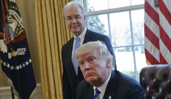 In this March 24, 2017, file photo, President Donald Trump with Health and Human Services Secretary Tom Price are seen in the Oval Office of the White House in Washington. (AP Photo/Pablo Martinez Monsivais, File)