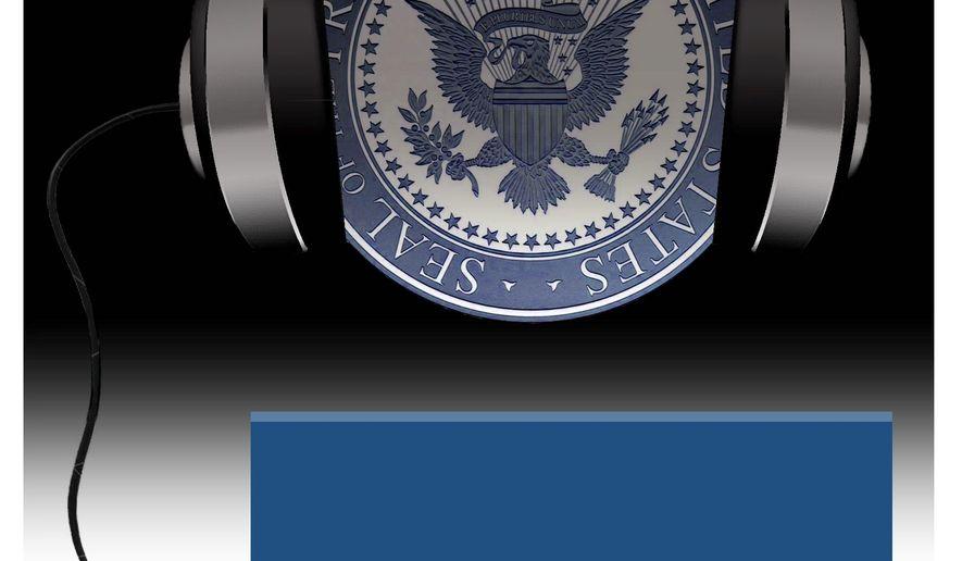 Illustration on White House authorized surveillance of Trump by Alexander Hunter/The Washington Times
