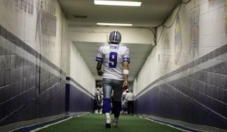 FILE - In this Dec. 20, 2008, file photo, Dallas Cowboys quarterback Tony Romo walks down the tunnel to the playing field at Texas Stadium before an NFL football game, in Irving, Texas. A person with knowledge of the decision says Romo is retiring rather than trying to chase a Super Bowl with another team after losing his starting job with the Cowboys. The all-time passing leader for the storied franchise is headed to the broadcast booth after considering those offers. The person spoke to The Associated Press on condition of anonymity Tuesday, April 4, 2017, because Romo's decision hasn't been announced.  (AP Photo/File)