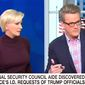 """MSNBC's Joe Scarborough discusses the """"unmasking"""" of President Donald Trump's associates by former national security adviser Susan Rice during the 2016 U.S. presidential campaign, April 4, 2017. (MSNBC screenshot)"""