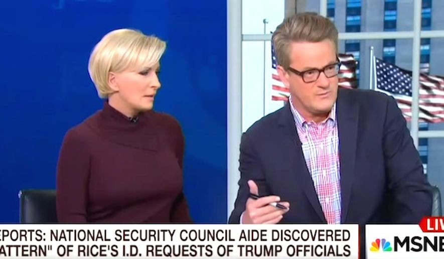 "MSNBC's Joe Scarborough discusses the ""unmasking"" of President Donald Trump's associates by former national security adviser Susan Rice during the 2016 U.S. presidential campaign, April 4, 2017. (MSNBC screenshot)"