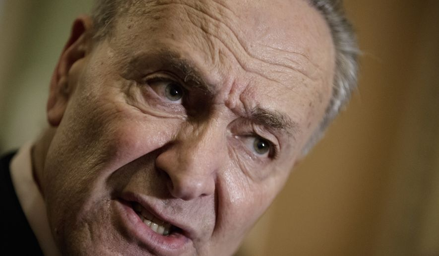 Senate Minority Leader Charles Schumer of N.Y. speaks to reporters on Capitol Hill in Washington, Tuesday, April 4, 2017, about the struggle to move Supreme Court nominee Neil Gorsuch toward a final up-or-down vote on the Senate floor. (AP Photo/J. Scott Applewhite)