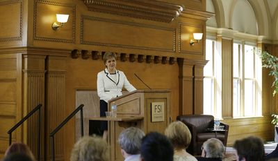 Scotland's First Minister Nicola Sturgeon speaks at Stanford University on Tuesday, April 4, 2017, in Stanford, Calif. Sturgeon says independence from the United Kingdom, combined with partnerships around the world, is the best way for her country to build a fairer society at home and to make a positive contribution elsewhere. (AP Photo/Eric Risberg)