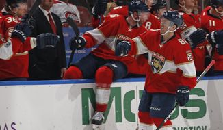 Florida Panthers center Jonathan Marchessault (81) celebrates after scoring a goal against the Montreal Canadiens during the second period of an NHL hockey game, Monday, April 3, 2017, in Sunrise, Fla. (AP Photo/Joel Auerbach)