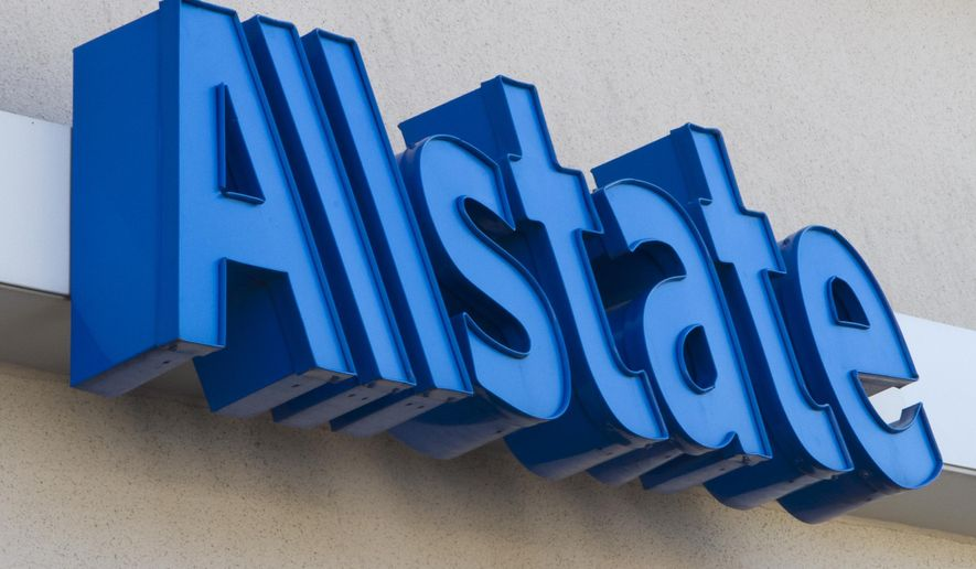 In this Wednesday, Aug. 4, 2010, file photo, the Allstate logo is displayed at an insurance office, in Omaha, Neb. (AP Photo/Nati Harnik, File)
