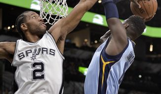 Memphis Grizzlies forward James Ennis III, right, attempts to shoot against San Antonio Spurs forward Kawhi Leonard during the first half of an NBA basketball game, Tuesday, April 4, 2017, in San Antonio. (AP Photo/Darren Abate)