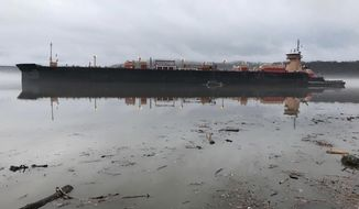 This photo provided by the United State Coast Guard shows a barge carrying barrels of gasoline after running aground on the Hudson River near Catskill, N.Y., Tuesday, April 4, 2017. Officials said the barge's tanks weren't punctured and there's no sign of product leaking into the water. (Petty Officer 1st Class LaNola Stone/United States Coast Guard via AP)