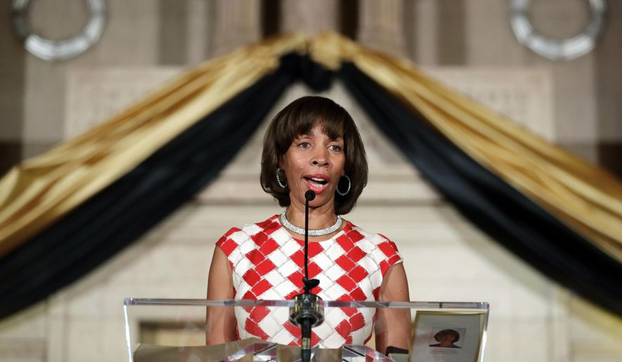 In this Tuesday, Dec. 6, 2016, file photo, Baltimore Mayor Catherine Pugh delivers an address during her inauguration ceremony inside the War Memorial Building in Baltimore. (AP Photo/Patrick Semansky, File) **FILE**