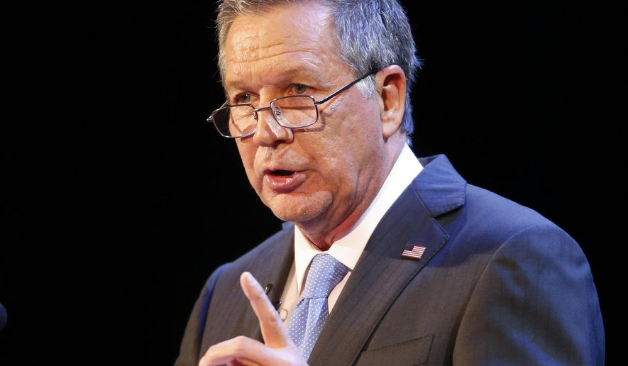 Ohio Gov. John Kasich delivers his State of the State address at the Sandusky State Theatre, Tuesday, April 4, 2017, in Sandusky, Ohio. (AP Photo/Ron Schwane)