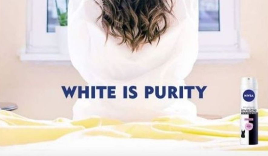 """German skincare brand Nivea is apologizing for an advertisement declaring """"white is purity"""" after social media users complained it was racist. (Nivea via BBC)"""