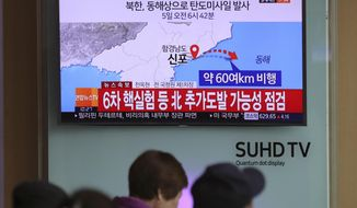 "Visitors sit in front of the TV screen showing a news program reporting about North Korea's missile firing, at Seoul Train Station in Seoul, South Korea, Wednesday, April 5, 2017. North Korea fired a ballistic missile into its eastern waters Wednesday, U.S. and South Korean officials said, amid worries the North might conduct banned nuclear or rocket tests ahead of the first summit between President Donald Trump and his Chinese counterpart Xi Jinping this week. The letters read ""North Korea fired a ballistic missile into its eastern waters."" (AP Photo/Lee Jin-man)"