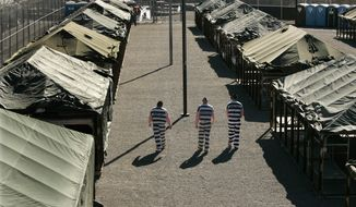 In this June 23, 2012, file photo, inmates walk through the courtyard in Maricopa County Sheriff Joe Arpaio's tent city jail in Phoenix. (AP Photo/Charlie Riedel, File)