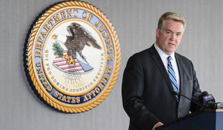 U.S. Attorney John W. Huber speaks during a news conference in Salt Lake City, Tuesday, April 4, 2017. Prosecutors have agreed not to file charges against a Utah public transit agency in exchange for cooperation with a federal investigation into possible corruption and misuse of public funds by people connected to the agency, the U.S. Attorney's Office in Utah announced Tuesday. (Trent Nelson/The Salt Lake Tribune via AP)