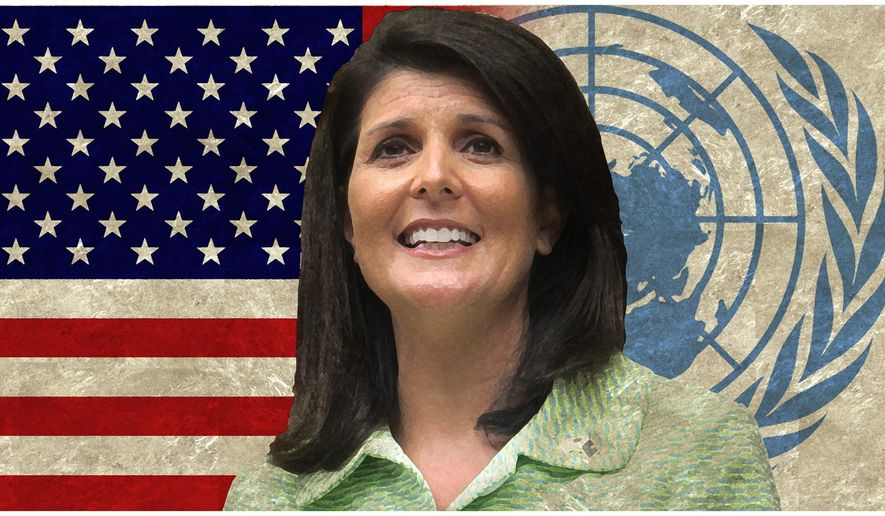Nikki Haley illustration to accompany Suzanne Fields article of April 6, 2017.